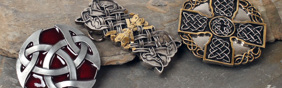 Celtic & gold belt buckles