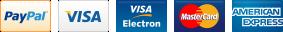 PayPal, Visa, Visa Electron, Mastercard, American Express