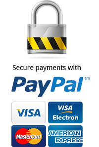 Secure payments with PayPal, Visa, Visa Electron, Mastercard, American Express