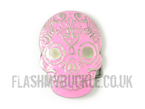 Pink Day of the Dead Skull Belt Buckle
