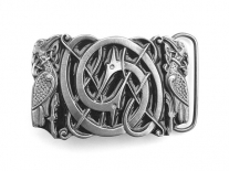 Intertwined Celtic Birds (Black) Belt Buckle