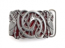 Intertwined Celtic Birds (Red) Belt Buckle