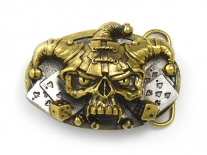 Jester Gold Skull Belt Buckle