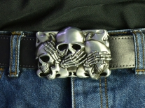 See No Evil, Hear No Evil, Speak No Evil Skulls Belt Buckle