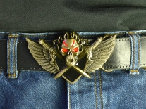 Winged Skull with Crossed Daggers Belt Buckle